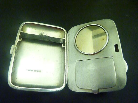 Solid silver combination cases 1920s silver compacts vanity cases - The Vintage Compact Shop