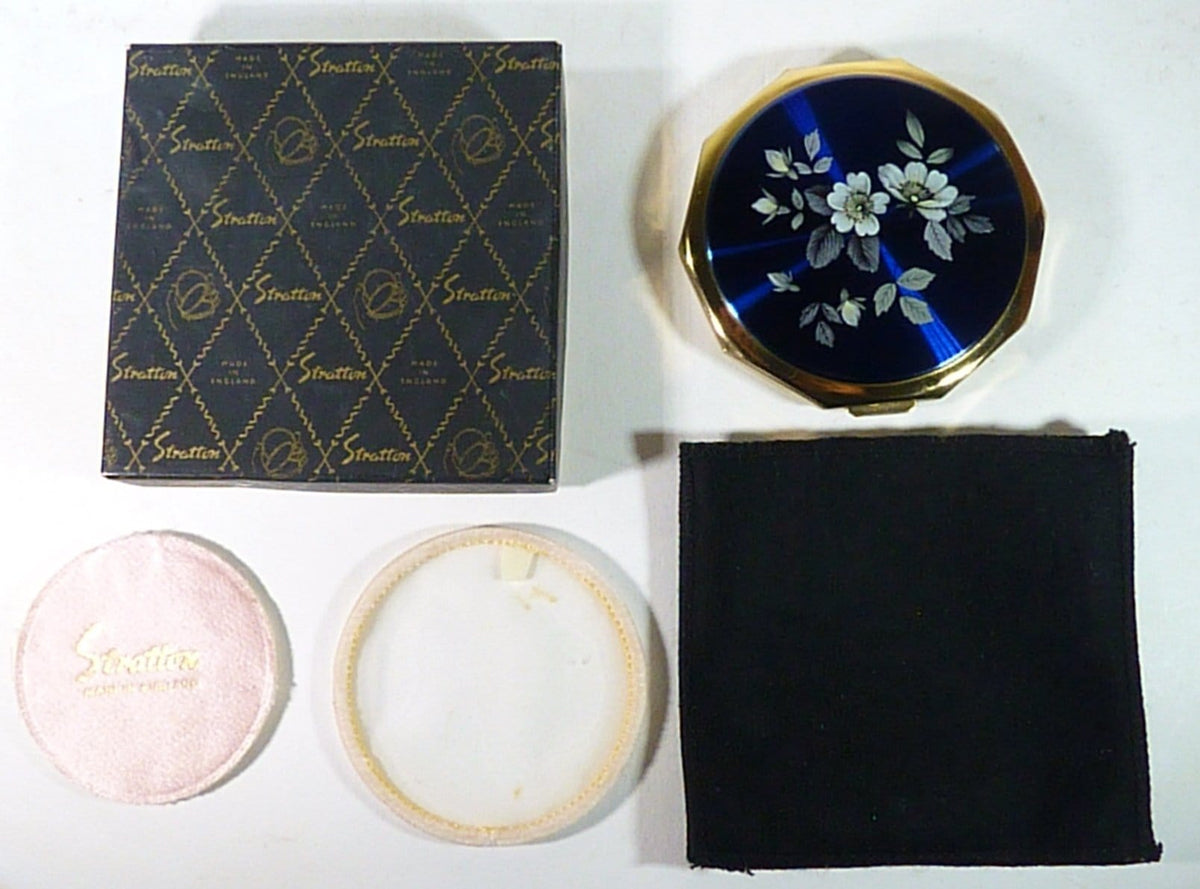 Something Blue Bridal Gift Unused Stratton Blue Enamel Compact