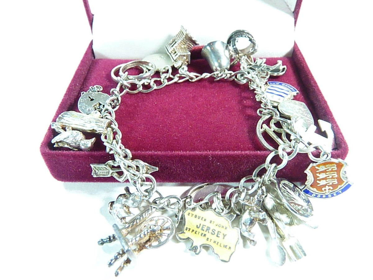 sterling charm bracelet in case