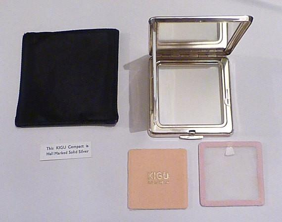 Solid silver Kigu compacts sterling silver compacts 25th anniversary gifts for her - The Vintage Compact Shop