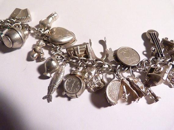 Vintage sterling silver charm bracelet solid silver bracelets silver wedding anniversary gifts for her - The Vintage Compact Shop