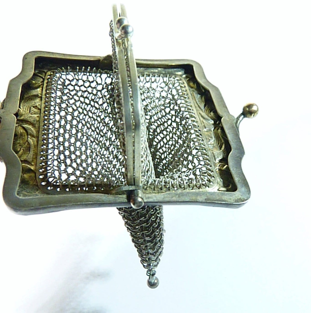 tiny antique silver purse 1800s
