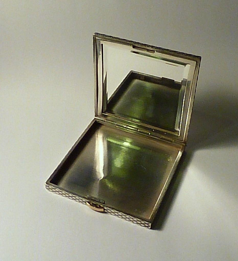 Art Deco Hermes powder compact antique Hermès solid silver and gold compact mirror 1930s