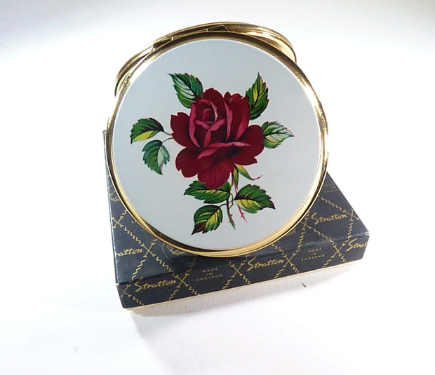 unused boxed vintage Stratton compact red rose