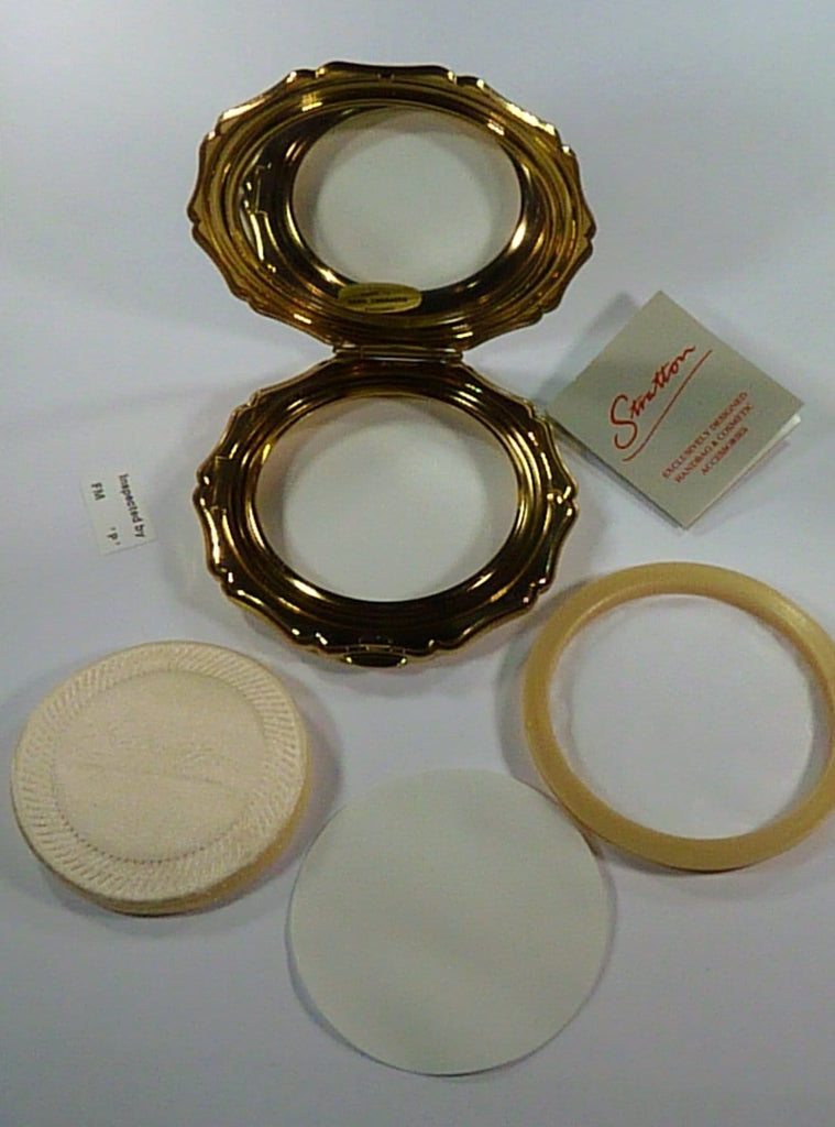 unused compact mirror with puff, box and pouch