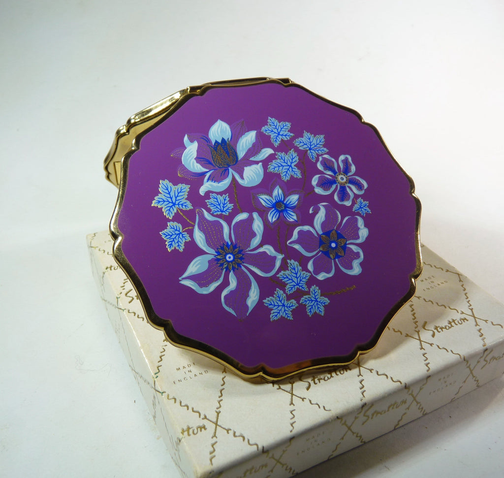 unused purple enamel Stratton compact mirror