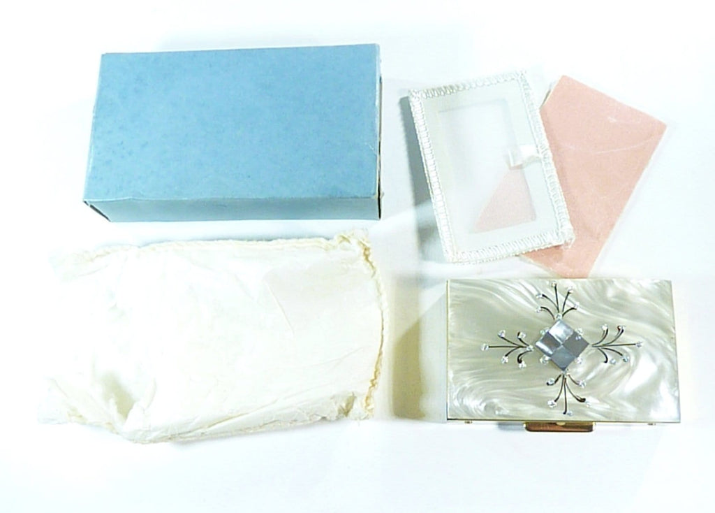 unused vintage Lucite powder box