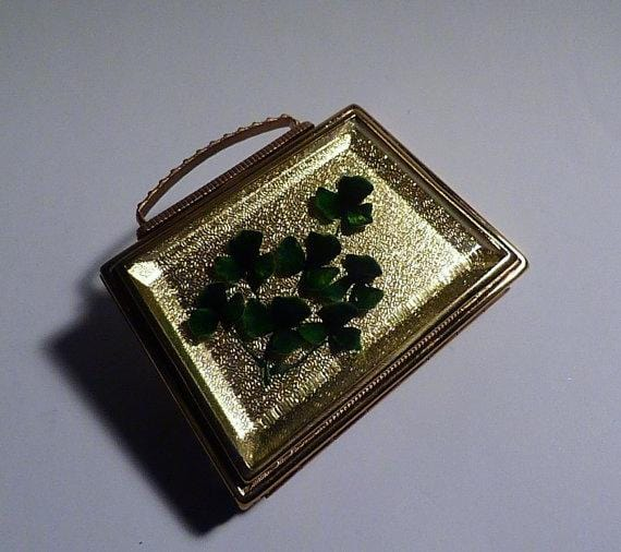 Unused vintage Lucite Mascot handbag shaped powder compact lucky shamrocks lucky seven gifts for her