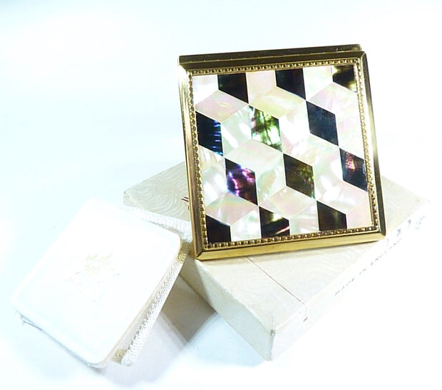 vintage mother of pearl loose powder compact pearl wedding gifts