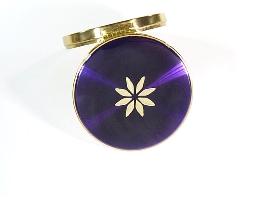 vintage purple enamel refillable loose powder compact
