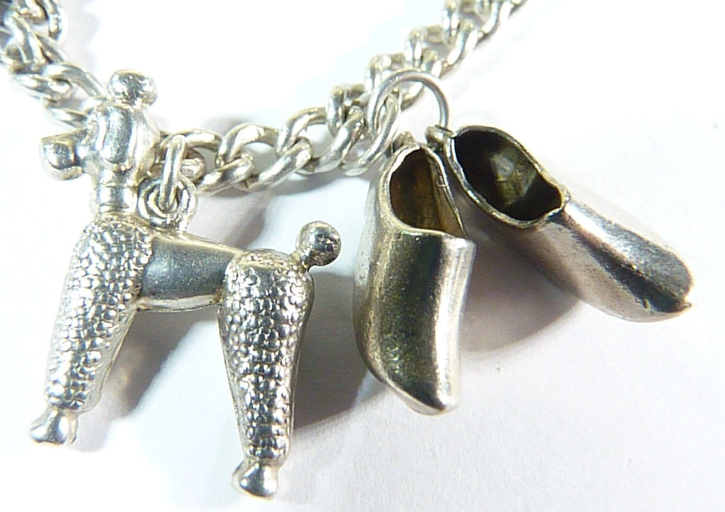 vintage silver Poodle and clogs charms