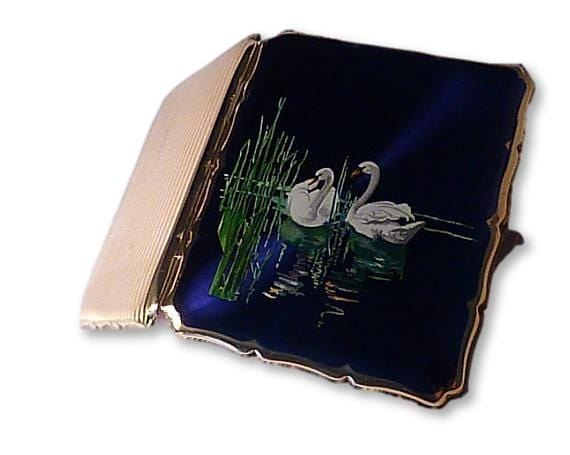 1950s cigarette cases enamel Stratton bird series business card cases 1950 SWANS