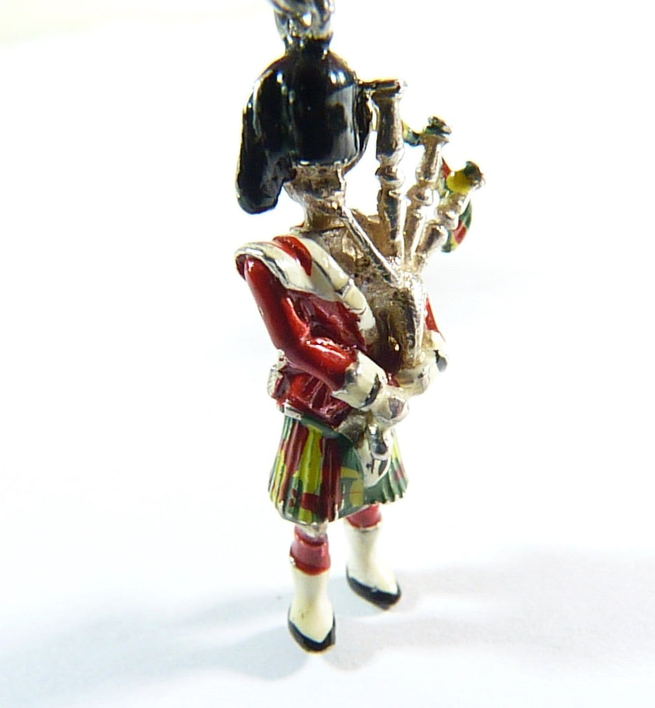 vintage sterling silver Scottish bagpipe player