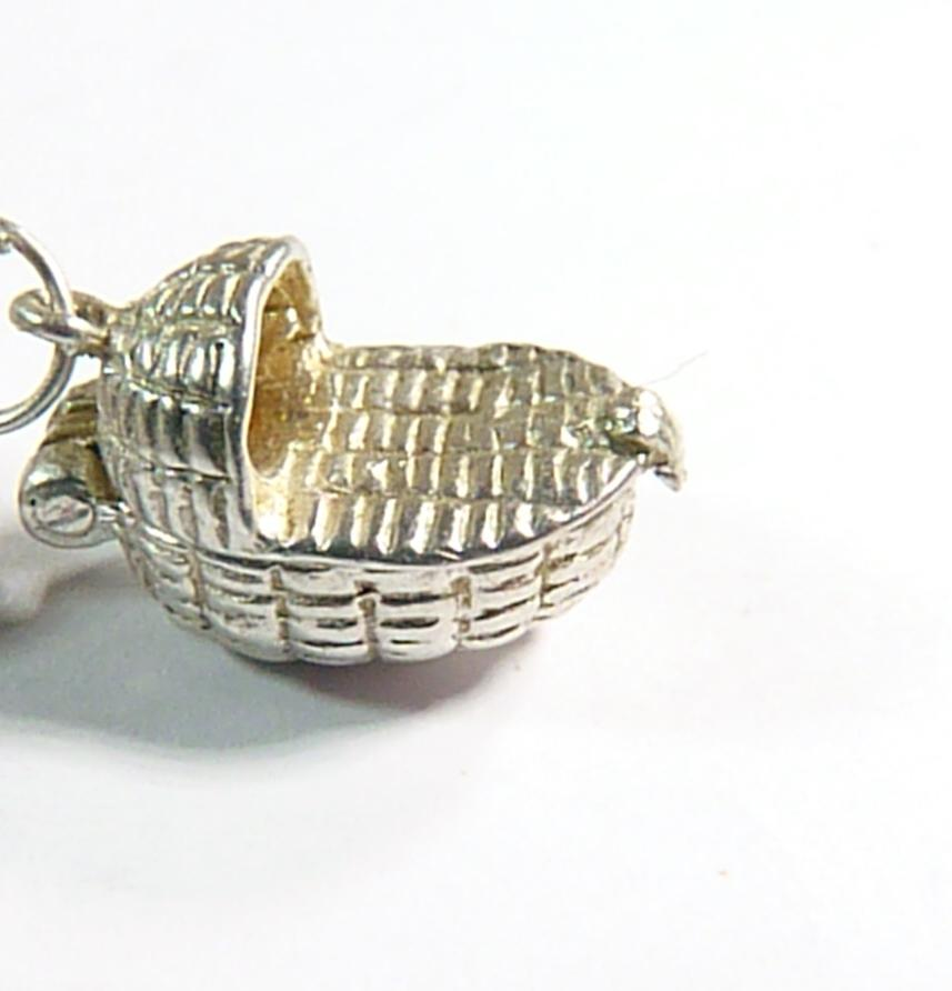 vintage sterling silver baby Moses basket charm