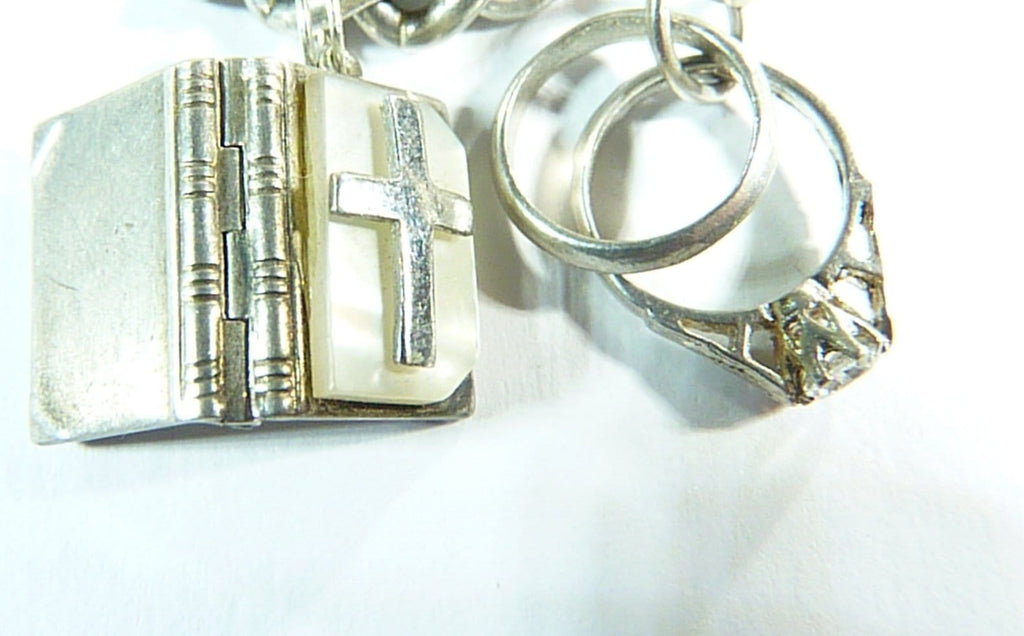 vintage sterling silver bible charm and wedding ring charms