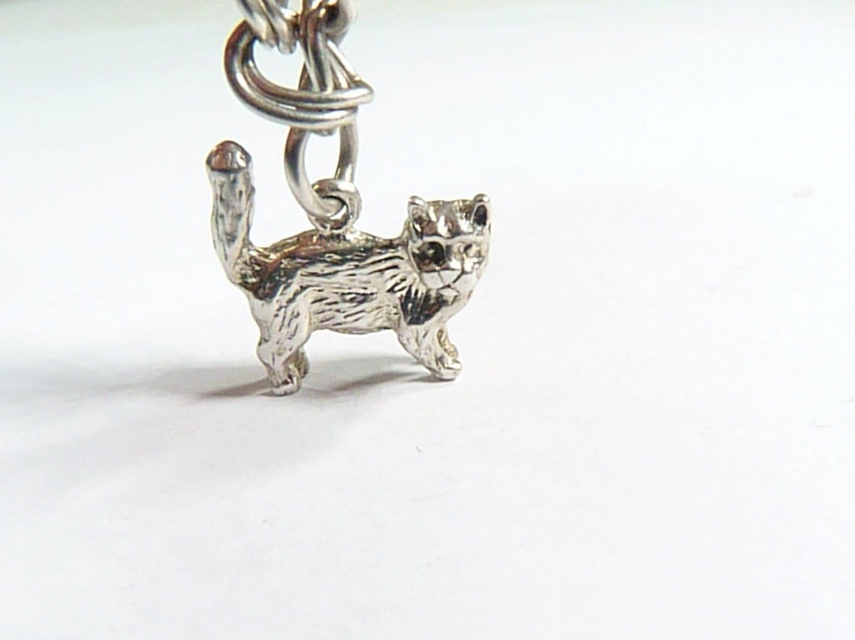 vintage sterling silver cat charm