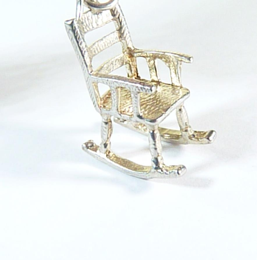 vintage sterling silver rocking chair charm