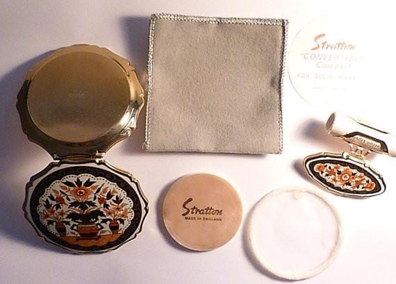Unused compacts Stratton Imari compacts vintage vanity sets 1970s - The Vintage Compact Shop