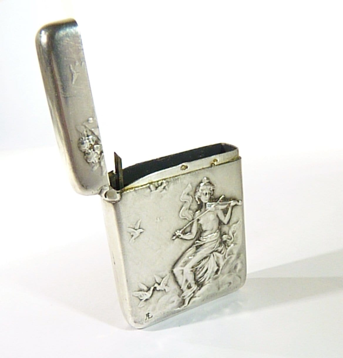 violin player antique silver match safe