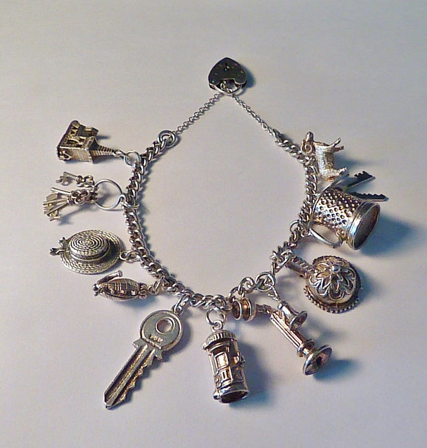 Vintage jewellery silver wedding themed bracelets 1970s sterling silver charm bracelet