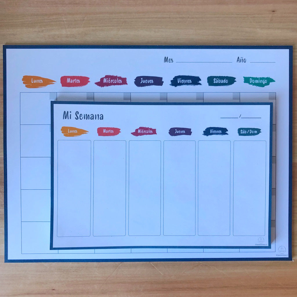 Calendario Mensual Colores