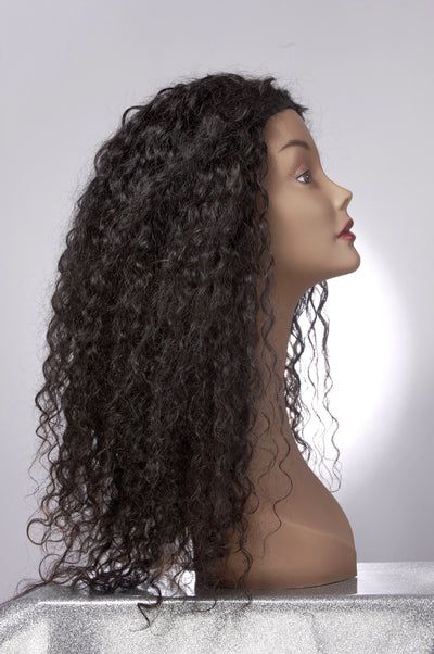 Long Dark Brown Curly Indian Hair Extensions on a Mannequin