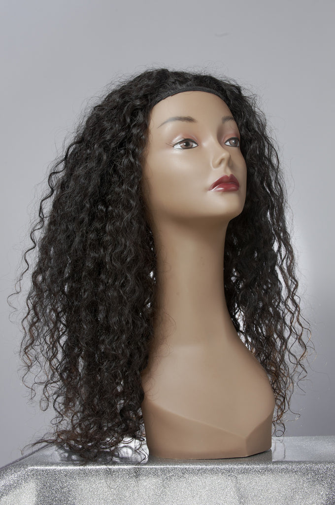 Curly Hair Extensions on a Mannequin