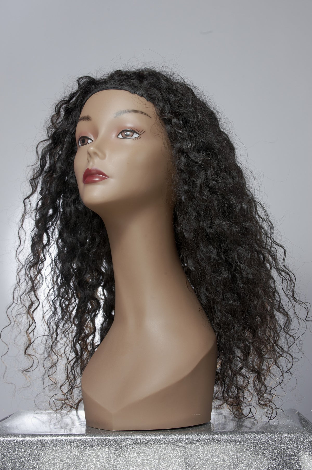 Long Curly Virgin Hair Extensions on Mannequin