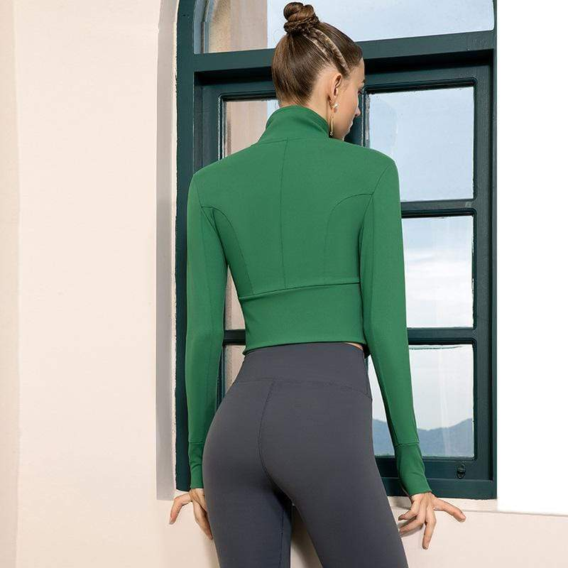 Stylish Casual Pure Colour Yoga Jacket