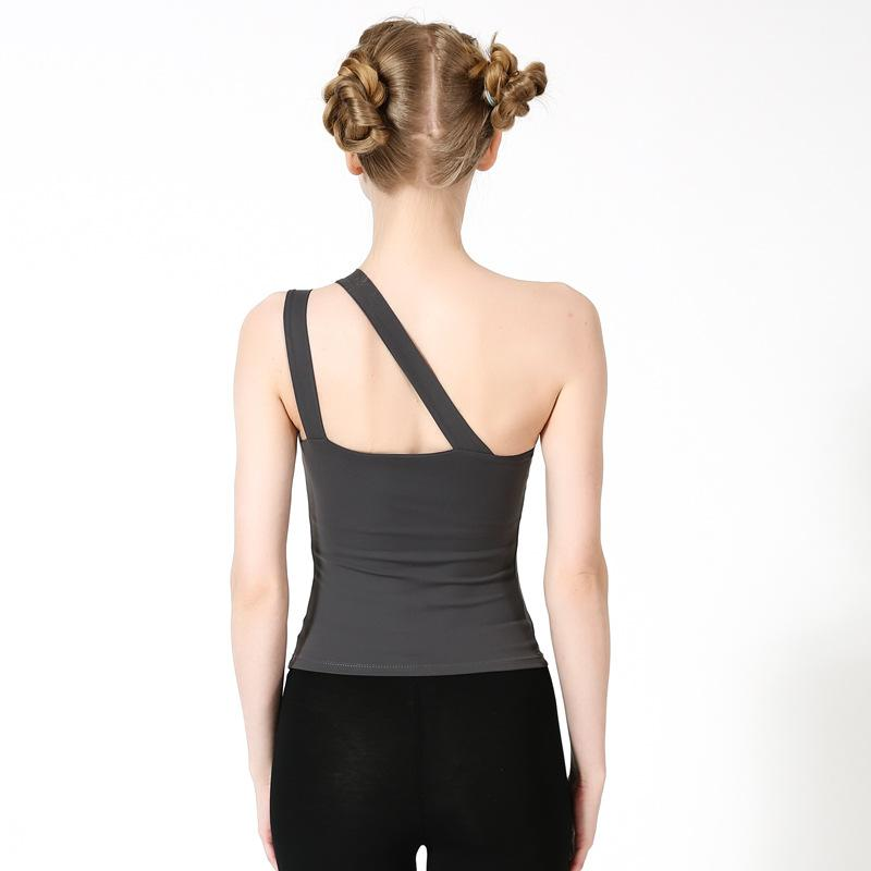 Slanted Shoulder Sexy Sports Training Yoga Vest