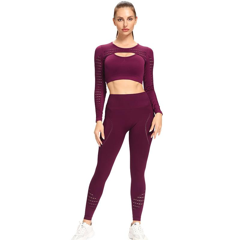 High Waist Tight Pure Color Yoga Suit