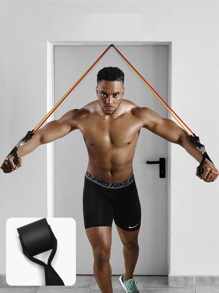 Calliven: Resistance Bands Set Include 5 Stackable Exercise Bands with Carry Bag, Door Anchor Attachment, Legs Ankle Straps, Foam Handles.