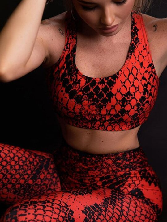 New Snake Print Vest Slim Mdriff Baring Yoga Suits