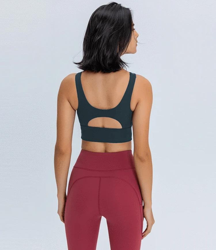 High Neck Camo  Longline Racerback High Support Sports Bra