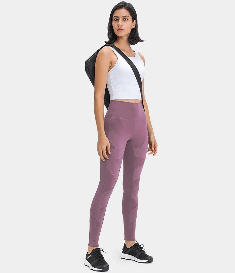 High Waisted Waistband Pocket Patchwork Full Length Leggings