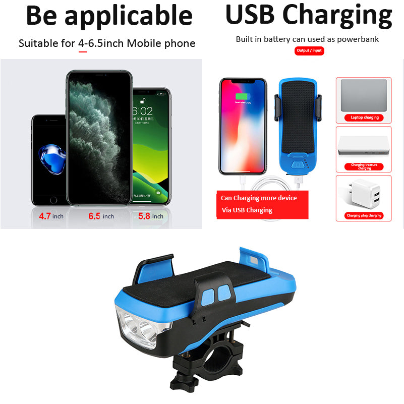 Universal Bicycle Phone Holder With Power Bank (4000Mah) & Bike Light
