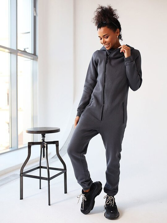 Long Sleeves Pockets Solid Color Hooded Jumpsuits