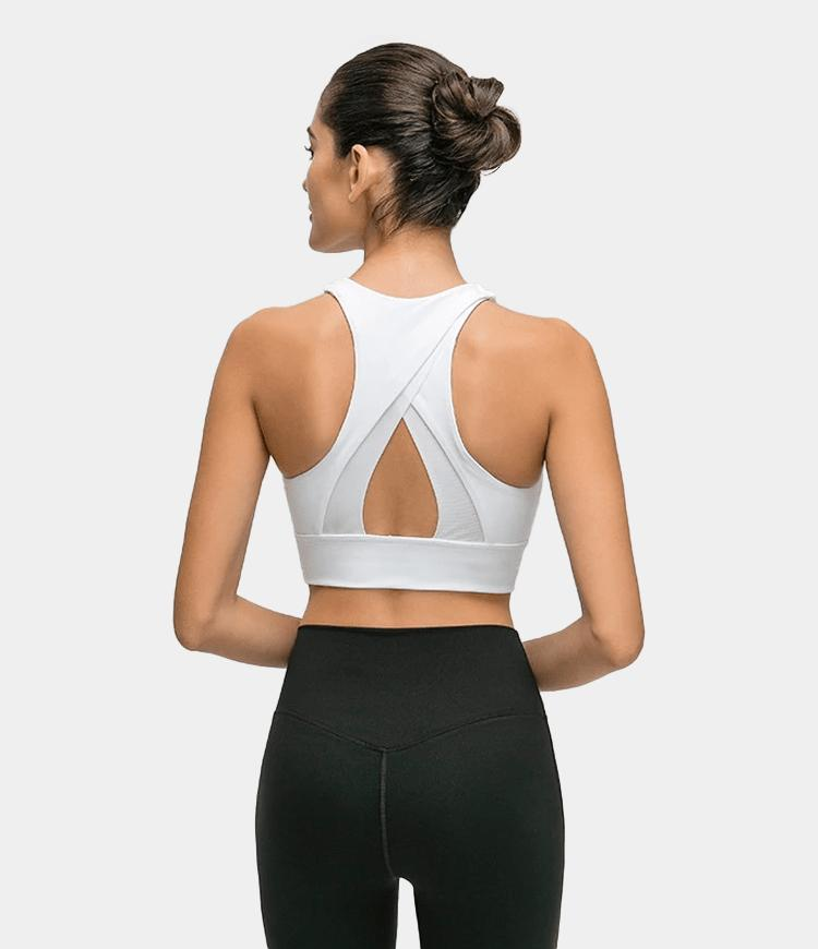 Bloom High Neck Longline Mesh Patchwork Racerback Medium Support Sports Bra