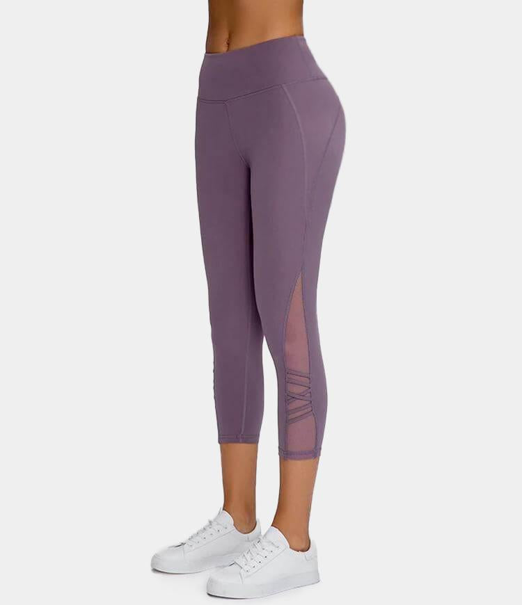 Bloom High Waisted Mesh Stripe Patchwork Capri Leggings