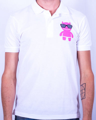 Pink Mega Demon Logo Polo