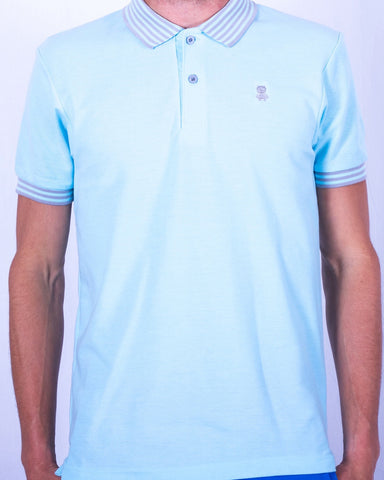 Blue Polo with Gray Striped Collar