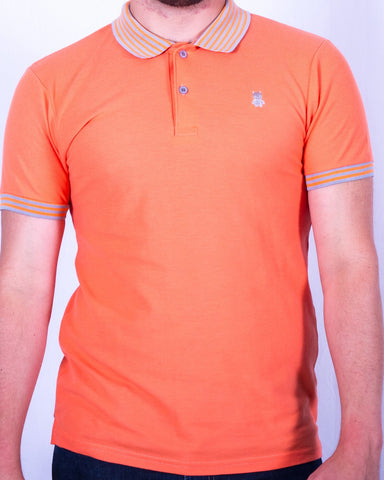 Orange Polo with Gray Striped Collar