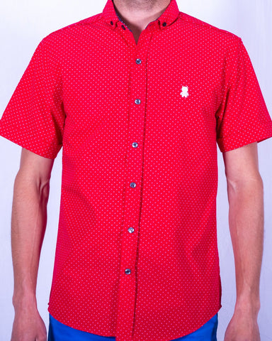 Red and Pink Polka Dot Short Sleeve Shirt
