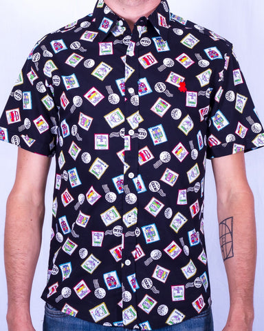Postage Print Short Sleeve Shirt - Black