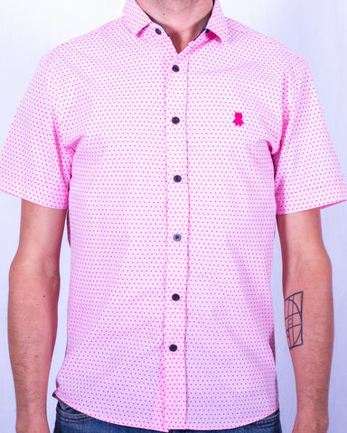 Pink Polka Dot Short Sleeve Shirt
