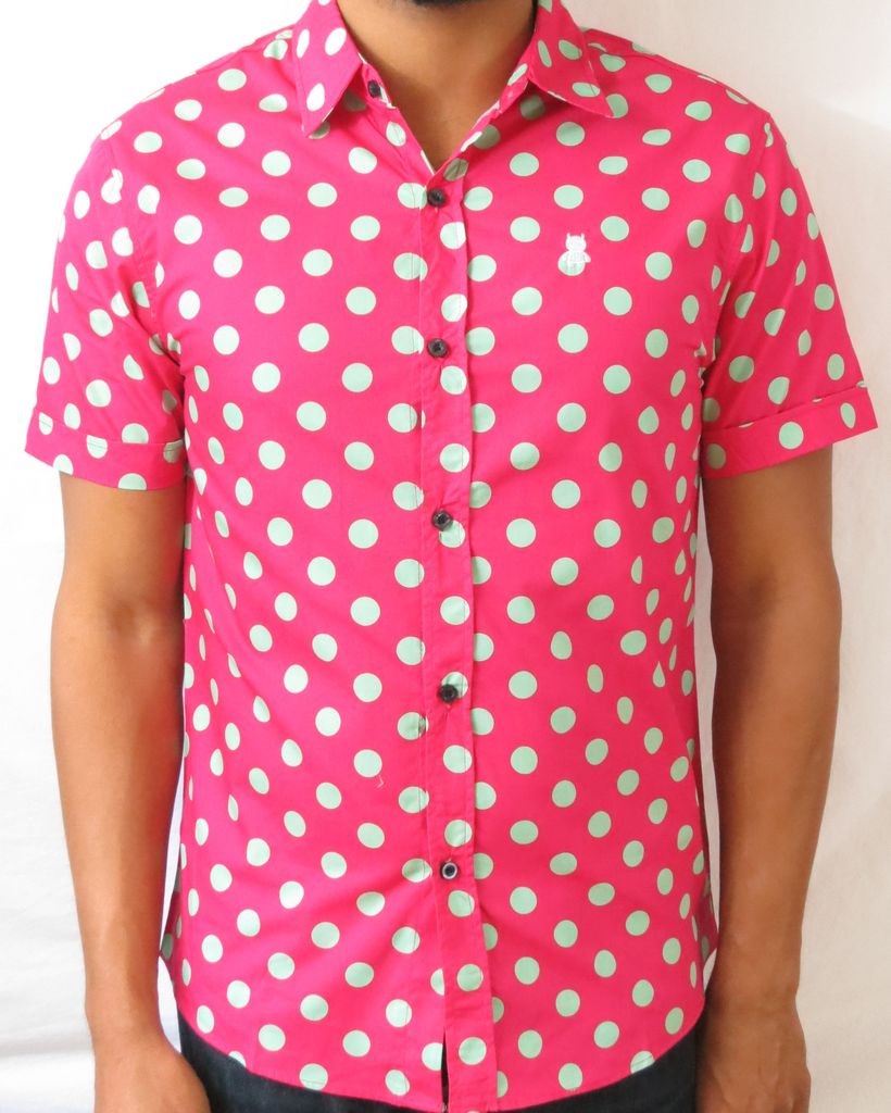 Polka Dot Short Sleeve Shirt - Fuchsia and Mint