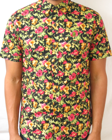 Floral Print Short Sleeve Shirt - Black Pink and Yellow