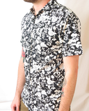Floral Print Short Sleeve Shirt - Black and White