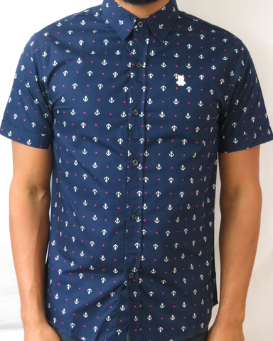 Anchor and Star Print Short Sleeve Shirt - Navy