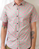 Sur Club 1976 Short Sleeve Button Up Gray and Pink Polka Dot Mens Shirt